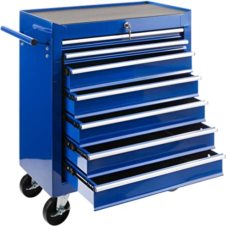 Arebos Chariot d'atelier / 7 Tiroirs/Verrouillable / 4 Roulettes/Tapis antidérapants/rouge, bleu ou noir