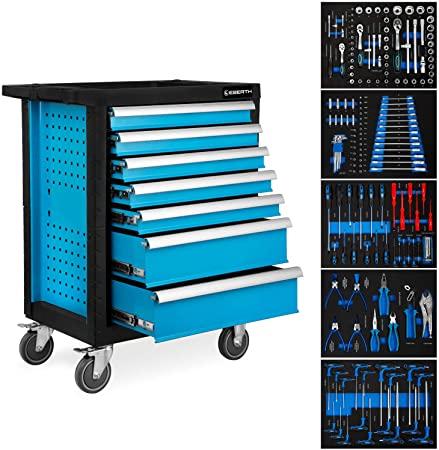 EBERTH Servante d'atelier avec Outils (7 tiroirs à roulements à billes, 5 tiroirs équipés d'outils, verrouillables, 4 roues, frein de stationnement, revêtement par poudre) 429,90 euros